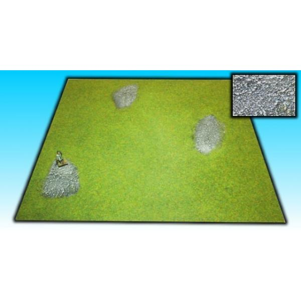 board grass with stone